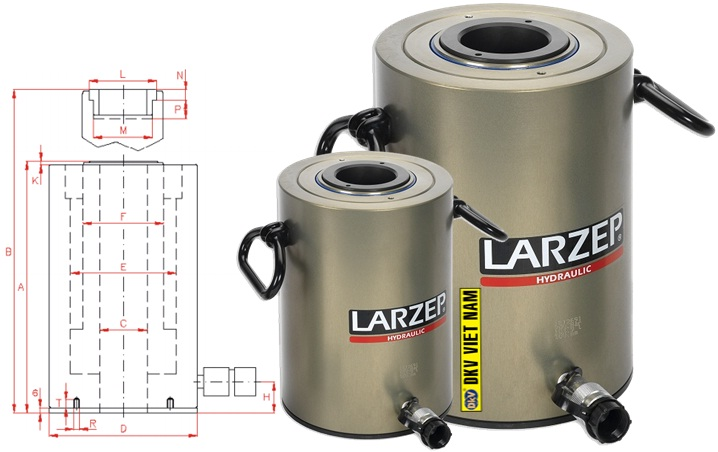 kich thuy luc rong tam, sah06010, larzep, hollow hydraulic cylinder SAH06010