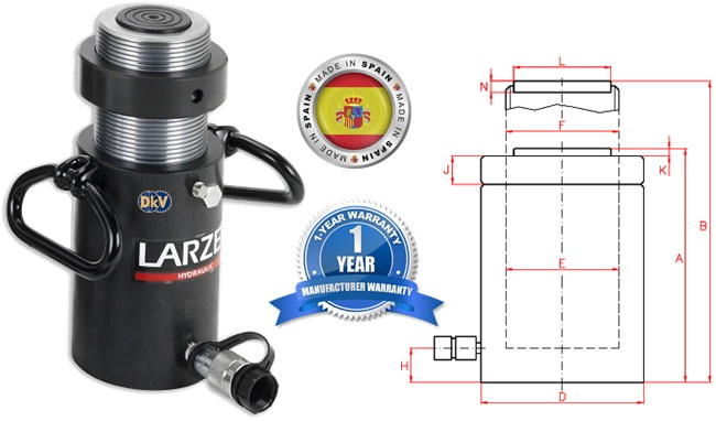 kich thuy luc Larzep STR03030, Larzep lock nut hydraulic cylinder STR03030